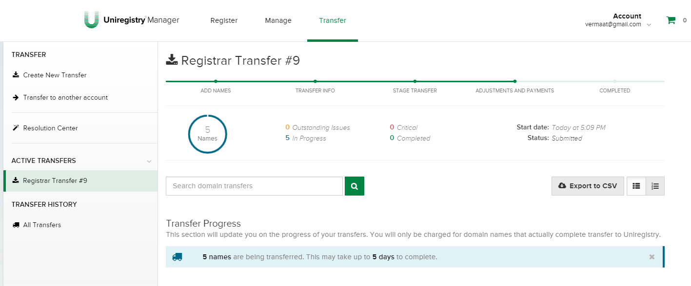 Uniregistry transfer